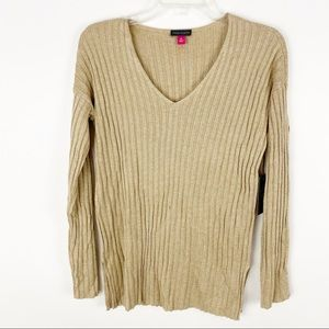 Vince Camuto gold metallic threaded v neck sweater